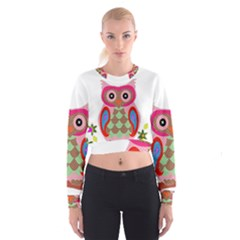 Owl Colorful Patchwork Art Women s Cropped Sweatshirt by Nexatart