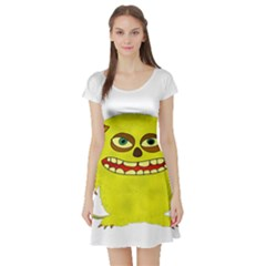 Monster Troll Halloween Shudder Short Sleeve Skater Dress