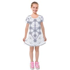 Tree Of Life Flower Of Life Stage Kids  Short Sleeve Velvet Dress by Nexatart