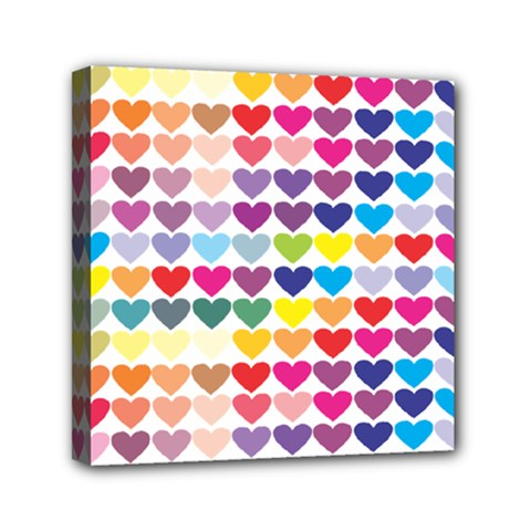 Heart Love Color Colorful Mini Canvas 6  X 6  by Nexatart