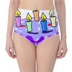 Cake Happy Birthday High-Waist Bikini Bottoms