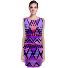 Seamless Purple Pink Pattern Sleeveless Velvet Midi Dress by Nexatart