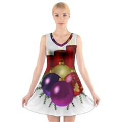Candles Christmas Tree Decorations V Neck Sleeveless Skater Dress