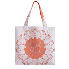 Mandala I Love You Zipper Grocery Tote Bag
