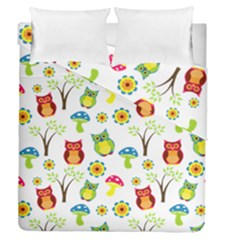 Cute Owl Wallpaper Pattern Duvet Cover Double Side (queen Size) by Nexatart