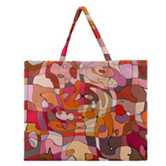 Abstract Abstraction Pattern Modern Zipper Large Tote Bag by Nexatart