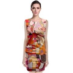 Abstract Abstraction Pattern Modern Classic Sleeveless Midi Dress
