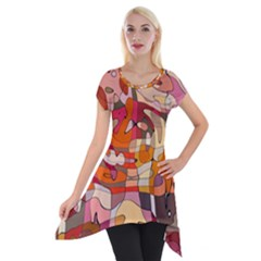 Abstract Abstraction Pattern Modern Short Sleeve Side Drop Tunic by Nexatart