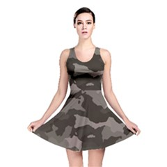 Background For Scrapbooking Or Other Camouflage Patterns Beige And Brown Reversible Skater Dress