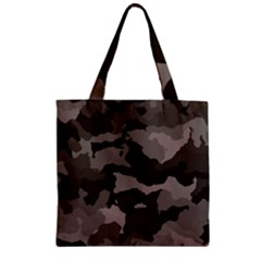 Background For Scrapbooking Or Other Camouflage Patterns Beige And Brown Zipper Grocery Tote Bag by Nexatart
