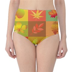 Autumn Leaves Colorful Fall Foliage High Waist Bikini Bottoms by Nexatart