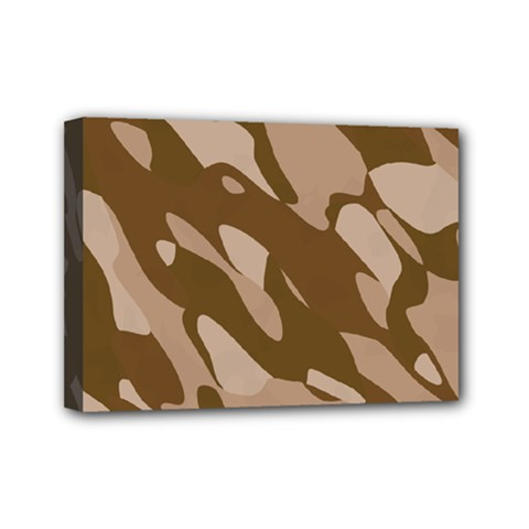 Background For Scrapbooking Or Other Beige And Brown Camouflage Patterns Mini Canvas 7  X 5