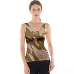 Background For Scrapbooking Or Other Beige And Brown Camouflage Patterns Tank Top