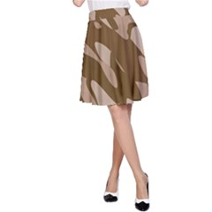 Background For Scrapbooking Or Other Beige And Brown Camouflage Patterns A Line Skirt