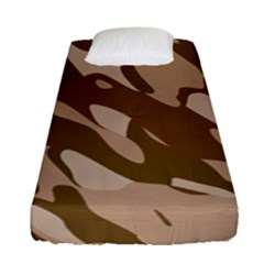 Background For Scrapbooking Or Other Beige And Brown Camouflage Patterns Fitted Sheet (single Size) by Nexatart