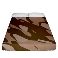 Background For Scrapbooking Or Other Beige And Brown Camouflage Patterns Fitted Sheet (king Size)