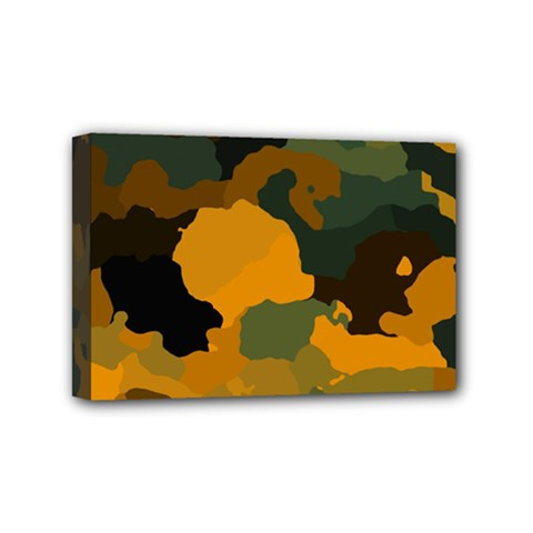 Background For Scrapbooking Or Other Camouflage Patterns Orange And Green Mini Canvas 6  X 4