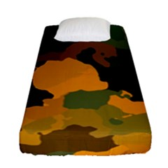Background For Scrapbooking Or Other Camouflage Patterns Orange And Green Fitted Sheet (single Size) by Nexatart