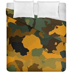 Background For Scrapbooking Or Other Camouflage Patterns Orange And Green Duvet Cover Double Side (california King Size) by Nexatart