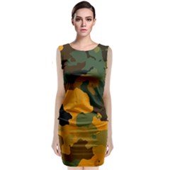 Background For Scrapbooking Or Other Camouflage Patterns Orange And Green Classic Sleeveless Midi Dress
