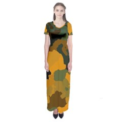 Background For Scrapbooking Or Other Camouflage Patterns Orange And Green Short Sleeve Maxi Dress by Nexatart