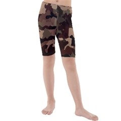 Background For Scrapbooking Or Other Camouflage Patterns Beige And Brown Kids  Mid Length Swim Shorts by Nexatart