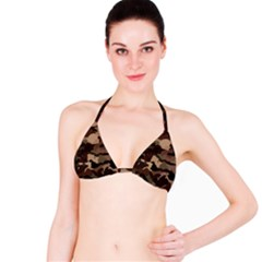 Background For Scrapbooking Or Other Camouflage Patterns Beige And Brown Bikini Top