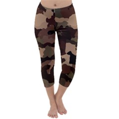 Background For Scrapbooking Or Other Camouflage Patterns Beige And Brown Capri Winter Leggings  by Nexatart