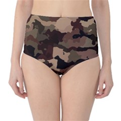 Background For Scrapbooking Or Other Camouflage Patterns Beige And Brown High Waist Bikini Bottoms