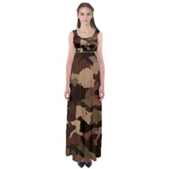 Background For Scrapbooking Or Other Camouflage Patterns Beige And Brown Empire Waist Maxi Dress by Nexatart