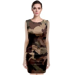 Background For Scrapbooking Or Other Camouflage Patterns Beige And Brown Classic Sleeveless Midi Dress by Nexatart