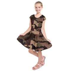Background For Scrapbooking Or Other Camouflage Patterns Beige And Brown Kids  Short Sleeve Dress by Nexatart