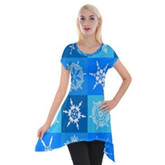 Background Blue Decoration Short Sleeve Side Drop Tunic by Nexatart