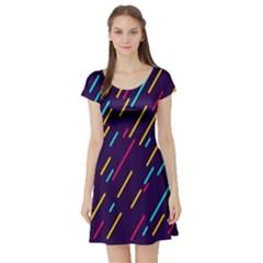 Background Lines Forms Short Sleeve Skater Dress