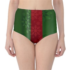 Background Christmas High Waist Bikini Bottoms