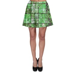 Background Of Green Squares Skater Skirt