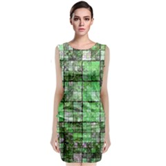 Background Of Green Squares Classic Sleeveless Midi Dress