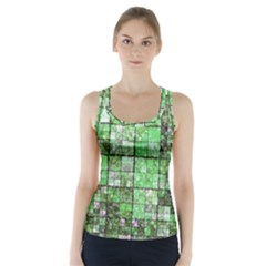 Background Of Green Squares Racer Back Sports Top
