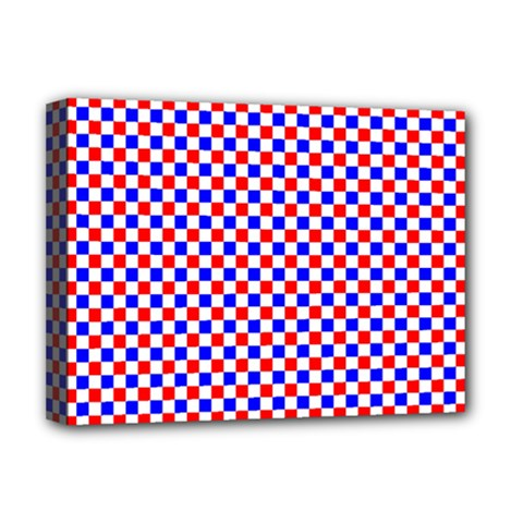 Blue Red Checkered Deluxe Canvas 16  X 12   by Nexatart