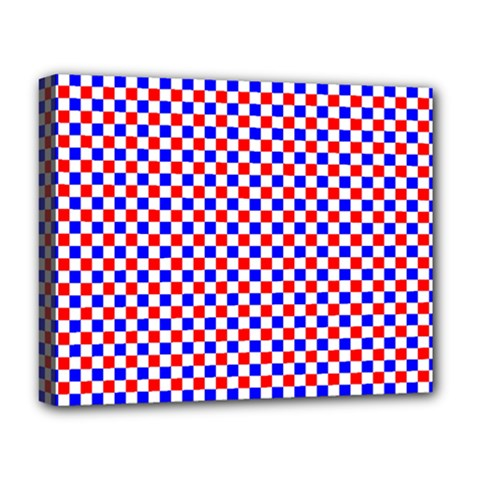 Blue Red Checkered Deluxe Canvas 20  X 16