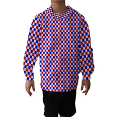 Blue Red Checkered Hooded Wind Breaker (Kids) by Nexatart