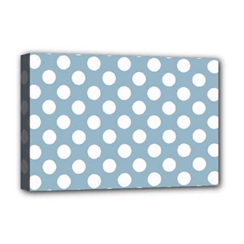 Blue Polkadot Background Deluxe Canvas 18  X 12