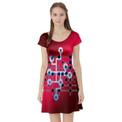 Board Circuits Trace Control Center Short Sleeve Skater Dress