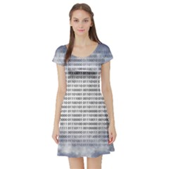 Binary Computer Technology Code Short Sleeve Skater Dress