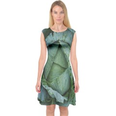 Bright Cabbage Color Dew Flora Capsleeve Midi Dress by Nexatart
