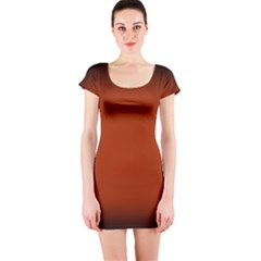 Brown Gradient Frame Short Sleeve Bodycon Dress