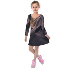 Canyon Desert Landscape Pattern Kids  Long Sleeve Velvet Dress by Nexatart