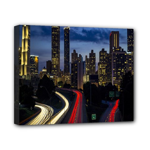 Building And Red And Yellow Light Road Time Lapse Canvas 10  X 8  by Nexatart