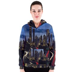 Building And Red And Yellow Light Road Time Lapse Women s Zipper Hoodie by Nexatart