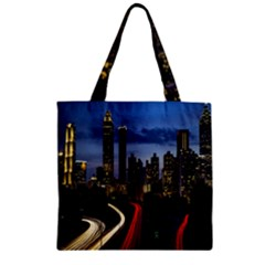 Building And Red And Yellow Light Road Time Lapse Zipper Grocery Tote Bag